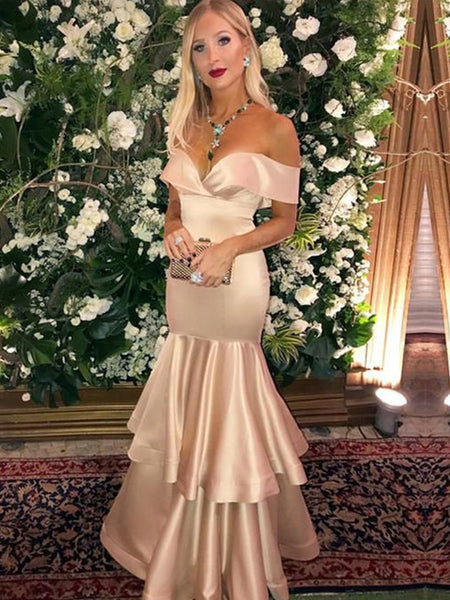 Trumpet/Mermaid Off-the-Shoulder Floor Length Satin Layers Sleeveless Prom Evening Dress