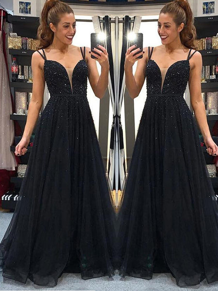 A-Line/Princess Spaghetti Straps Floor Length Tulle Beading Sleeveless Backless Dress