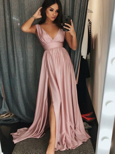 A-Line/Princess V-Neck Sweep/Brush Train Silk Like Satin Ruffles Sleeveless Prom Formal Dress with Slit
