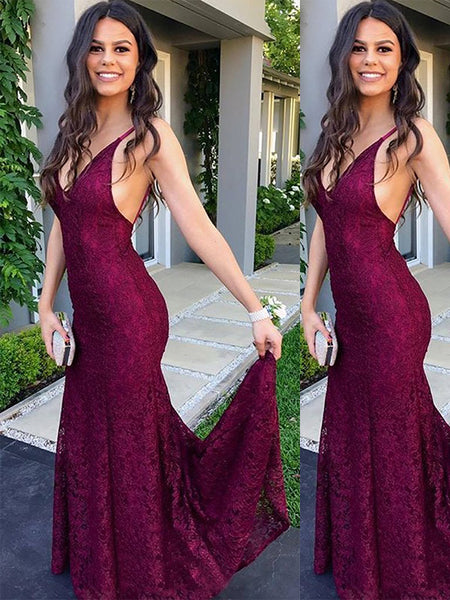 Trumpet/Mermaid V-Neck Sweep/Brush Train Lace Sleeveless Backless Prom Evening Dress