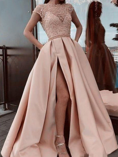 A-Line/Princess Scoop Sweep/Brush Train Satin Beading Short Sleeves Prom Formal Dress with Slit