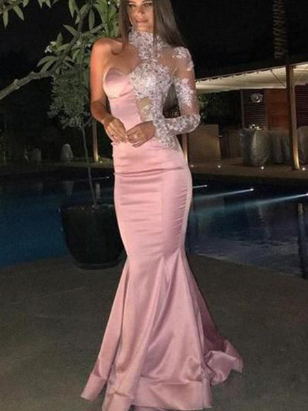 Trumpet/Mermaid One-Shoulder Sweep/Brush Train Satin Applique Long Sleeves Prom Formal Dress