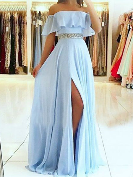 A-Line/Princess Off-the-Shoulder Floor Length Chiffon Beading Sleeveless Dress with Slit