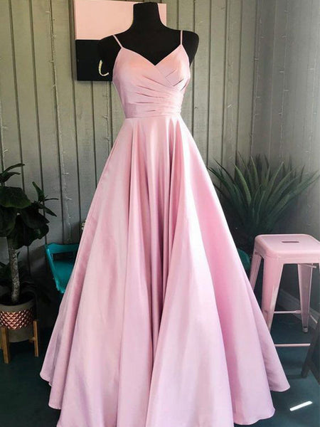 A-Line/Princess Spaghetti Straps Floor Length Satin Ruched Sleeveless Prom Formal Dress