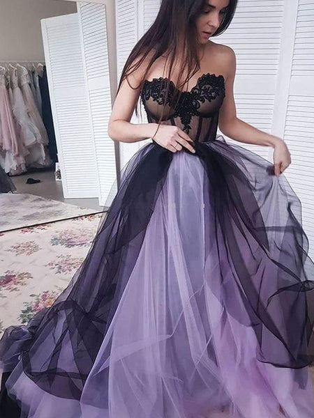 A-Line/Princess Strapless Court Train Tulle Applique Sleeveless Prom Evening Dress