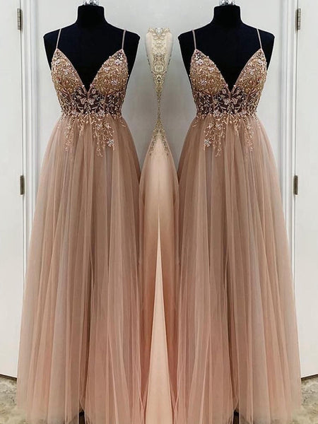 A-Line/Princess Spaghetti Straps Floor Length Tulle Beading Sleeveless Prom Formal Dress