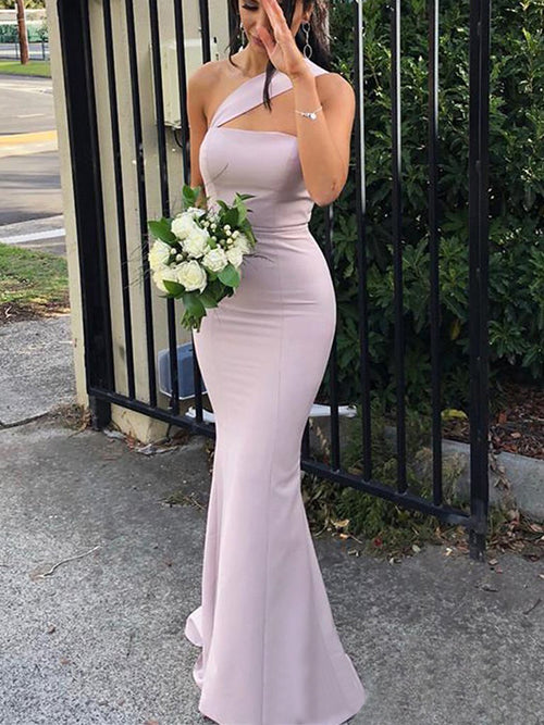 Trumpet/Mermaid Sleeveless One-Shoulder Elastic Satin Long Dresses