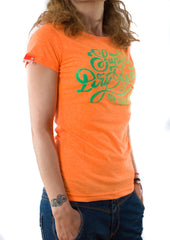 Superdry γυναικείο t-shirt fluo orange
