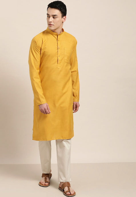 COTTON SOLID KURTA TOP (MUSTARD)