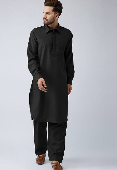 COTTON PATHANI KURTA SET (BLACK)