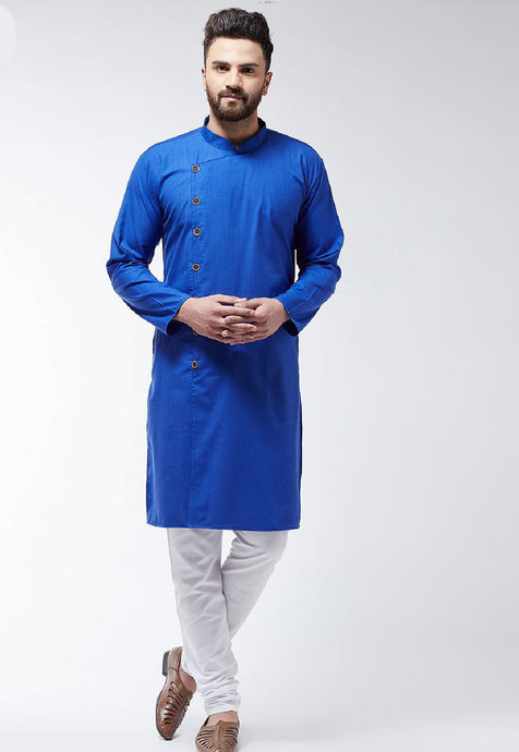 COTTON SOLID KURTA SET (ROYAL BLUE)
