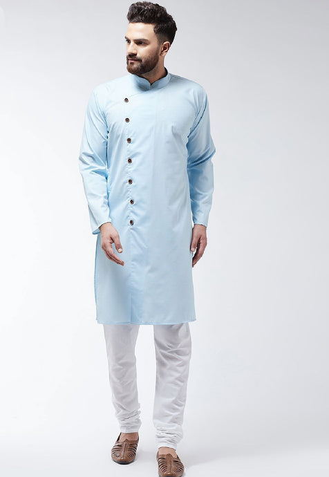 COTTON SOLID KURTA SET (SKY BLUE)
