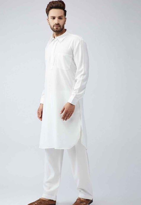 COTTON PATHANI KURTA SET (CREAM)