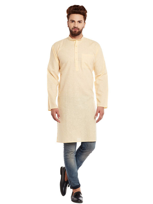 COTTON LINEN  KURTA TOP (YELLOW)