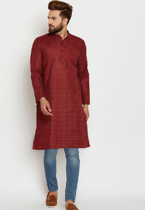 COTTON LINEN BLEND KURTA TOP (MAROON)