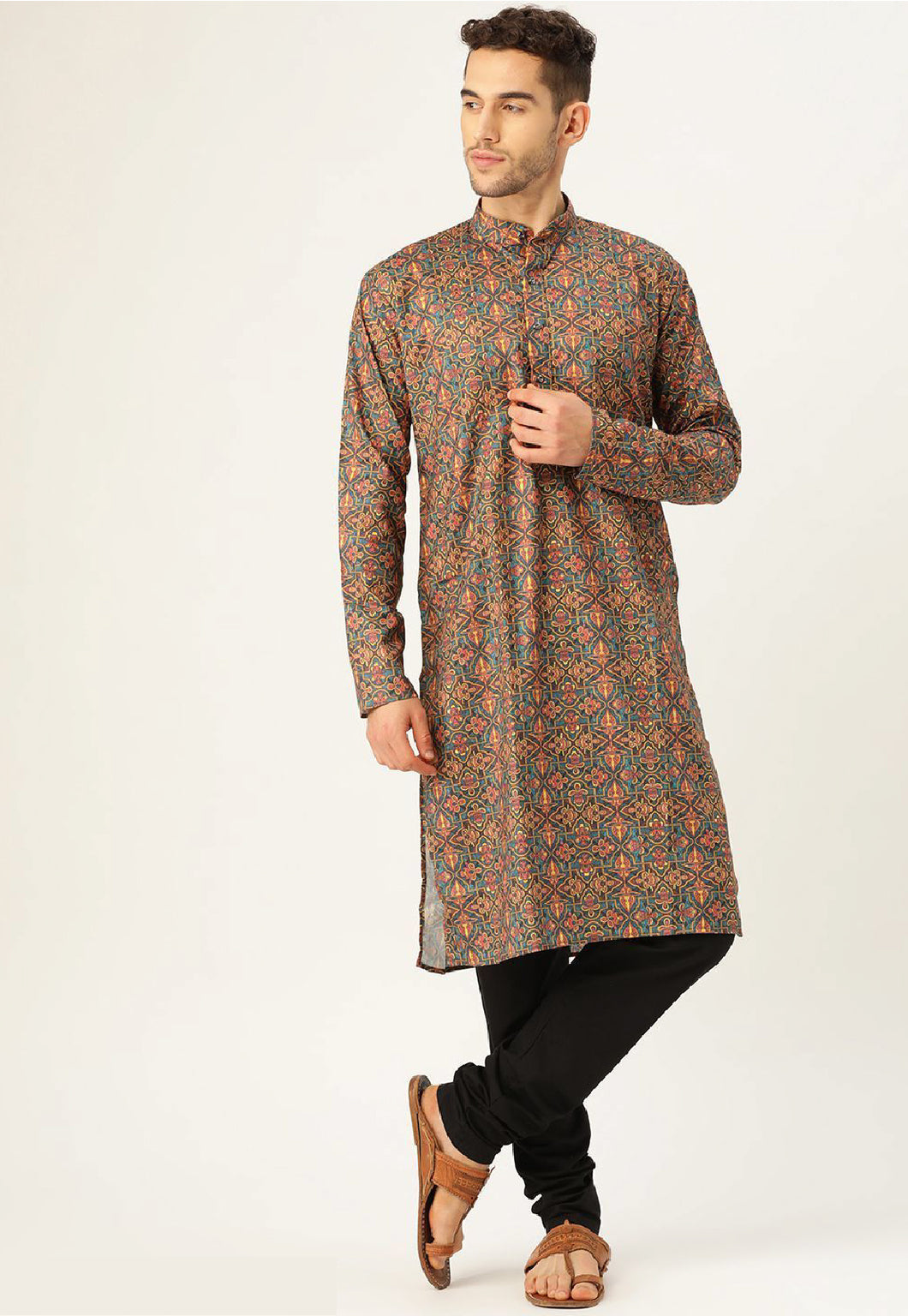 COTTON BLEND MOSS KURTA TOP (DARK FLORAL)