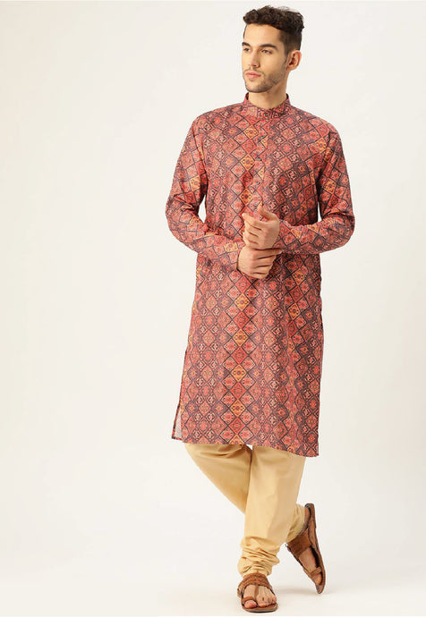 COTTON BLEND KURTA TOP (MULTICOLOUR ETHNIC)