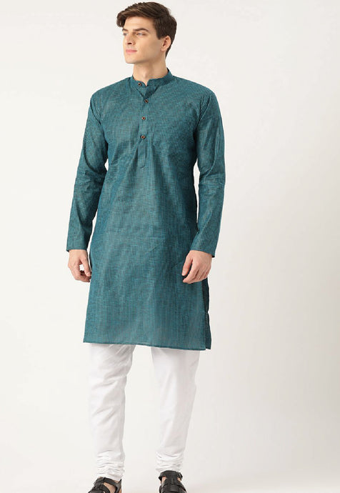 COTTON STRIPED KURTA SET (TEAL)