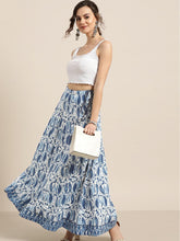Load image into Gallery viewer, Navy Paisley Anarkali Skirt With Printed Border