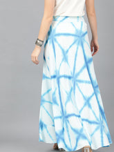 Load image into Gallery viewer, White & Blue Tie And Dye Printed Skirt