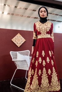 Turkish Hannah Embroidery Dress - Red Gold - Short Sleeves