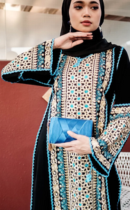 Turkish Nazeera Embroidery Dress in Blue