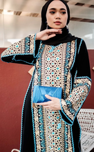 Load image into Gallery viewer, Turkish Nazeera Embroidery Dress in Blue