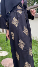 Load image into Gallery viewer, Nayla Abaya - Black Gold Embroidery