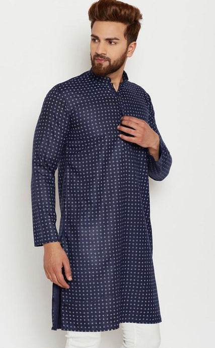 COTTON LINEN BLEND KURTA TOP (NAVY BLUE)