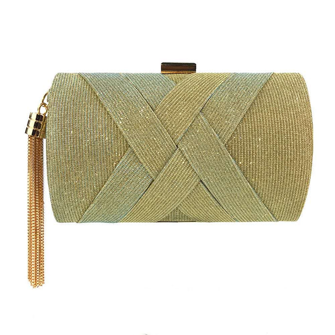 Glitter Criss Cross Clutch Bag - Gold