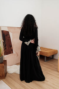 Turkish Haneesah Dress - Black Silver- Long Sleeves