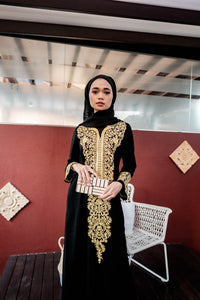 Turkish Nurul dress in Gold Embroidery