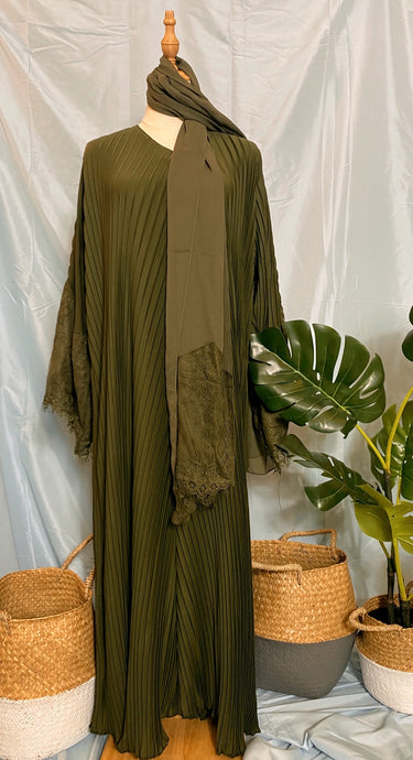 Deena Pleated Abaya - Lace Fan Sleeves Olives