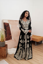 Load image into Gallery viewer, Turkish Haneesah Dress - Black Silver- Long Sleeves