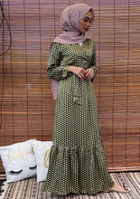 Load image into Gallery viewer, Amelia Wrap Mermaid Dress in Olive Polka Dot
