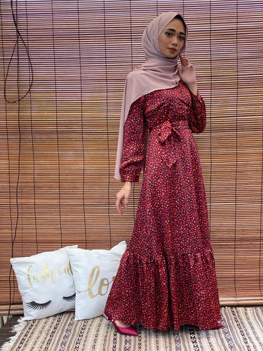 Amelia Wrap Mermaid Dress in Red Leopard Print