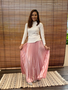 Satin Pleated Skirt - Pink