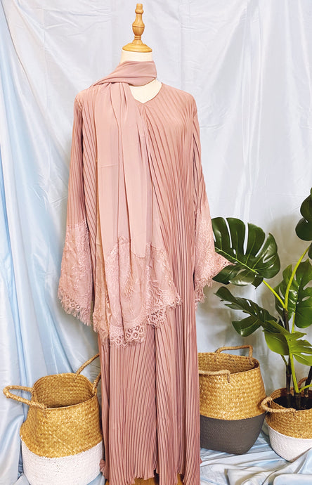 Deena Pleated Abaya - Lace Fan Sleeves Dusty Pink