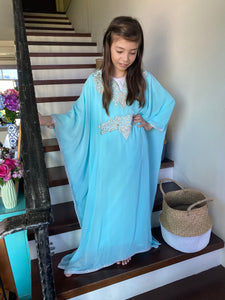 Kids Neelofa Kaftan - Tiffany, Silver Embroidery