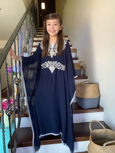 Kids Neelofa Kaftan - Navy Blue