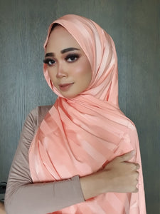 Lisa Soft Stripe Satin Shawl - Light Salmon Pink