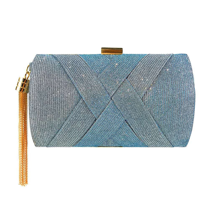 Glitter Criss Cross Clutch Bag - Blue silver