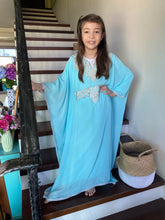 Load image into Gallery viewer, Kids Neelofa Kaftan - Tiffany, Silver Embroidery