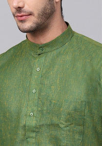 Cotton Blend Moss Green Kurta Set