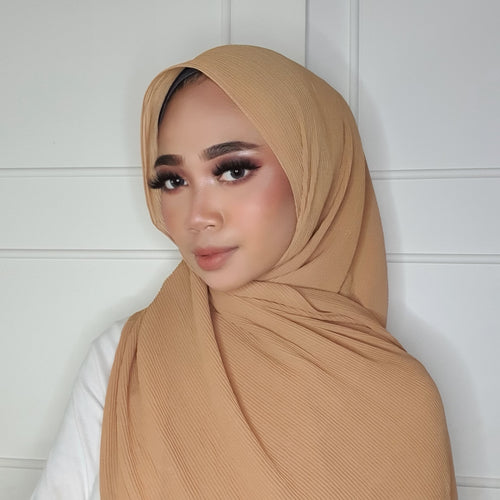 Iris Soft Pleated Shawl - Light Brown