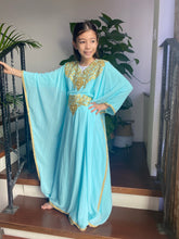 Load image into Gallery viewer, Kids Neelofa Kaftan - Tiffany, Gold Embroidery