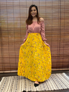 Daisy Pleated Maxi Skirt - Yellow