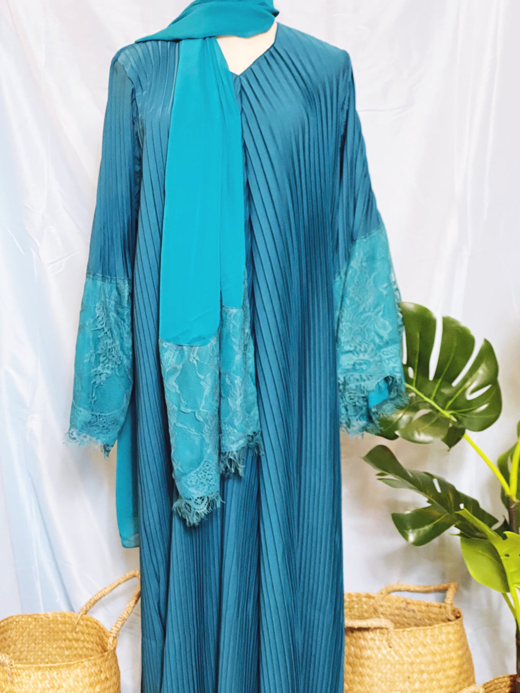 Deena Pleated Abaya - Lace Fan Sleeves Turquoise