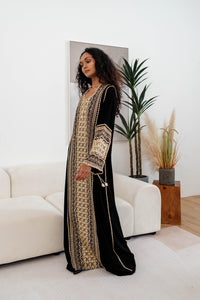 Turkish Nabeela Embroidery Dress in Gold