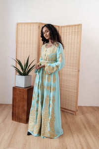 Turkish Haneesah Dress - Tiffany Gold- Long Sleeves